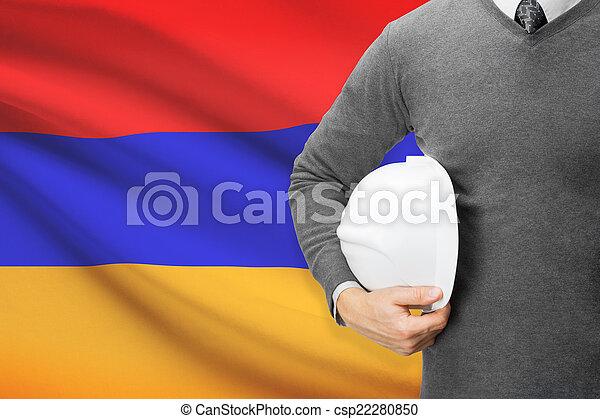 Architect with flag on background - Armenia - csp22280850