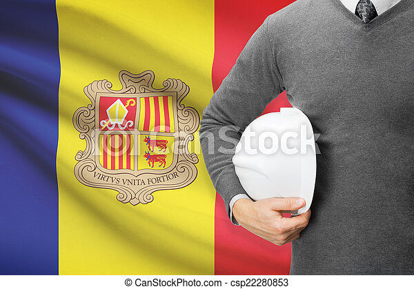 Architect with flag on background - Andorra - csp22280853