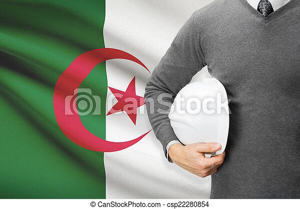 Architect with flag on background - Algeria - csp22280854