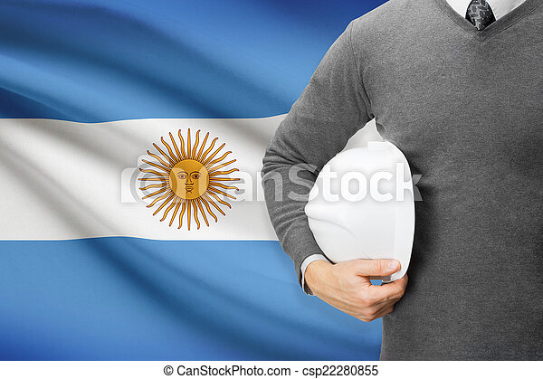 Architect with flag on background - Argentina - csp22280855