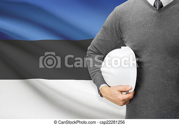 Architect with flag on background - Estonia - csp22281256