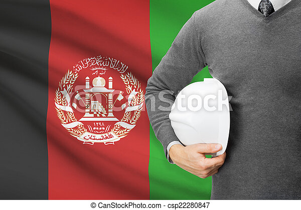Architect with flag on background - Afghanistan - csp22280847
