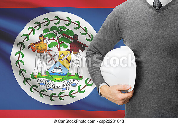 Architect with flag on background - Belize - csp22281043