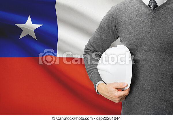 Architect with flag on background - Chile - csp22281044