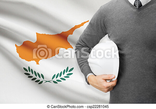 Architect with flag on background - Cyprus - csp22281045
