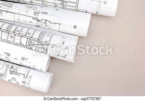 Architect work table with blueprint rolls rolls of architecture architect work table with blueprint rolls csp37757367 malvernweather Image collections