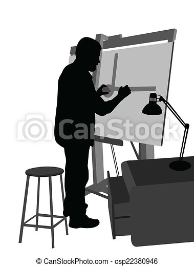 Architect working on blueprint silhouette vector eps vector architect working on blueprint vector malvernweather Choice Image