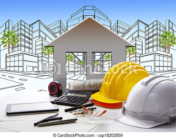 architect working table with construction industry and engineer working tool on top of table use for real estate and property land development theme  - csp18202859
