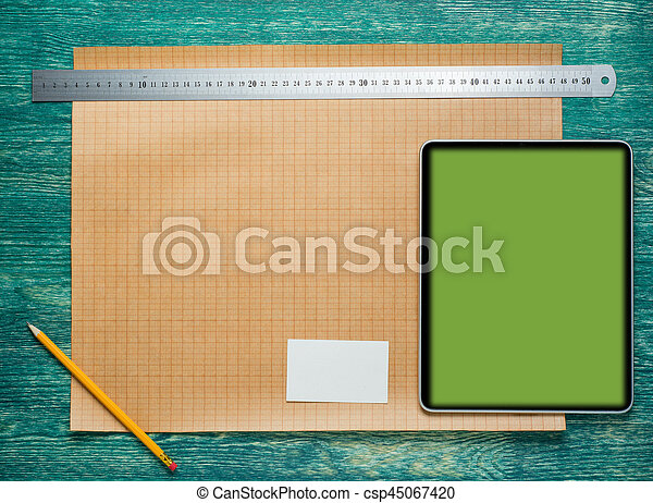 Architect worplace on vintage wooden desk table. Construction background. Engineering tools with tablet PC. Top view. - csp45067420