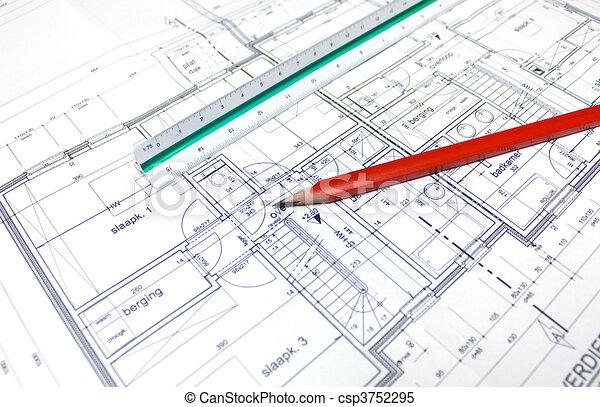 architect\'s, plan - csp3752295