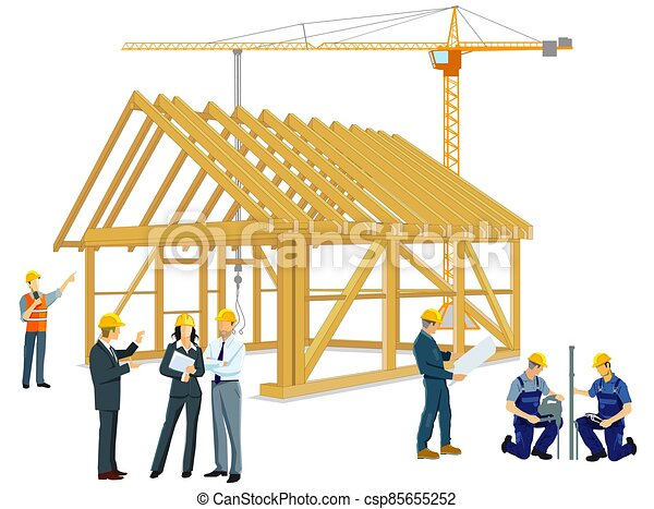 architects.eps, edificio, artesanos, casa de madera - csp85655252