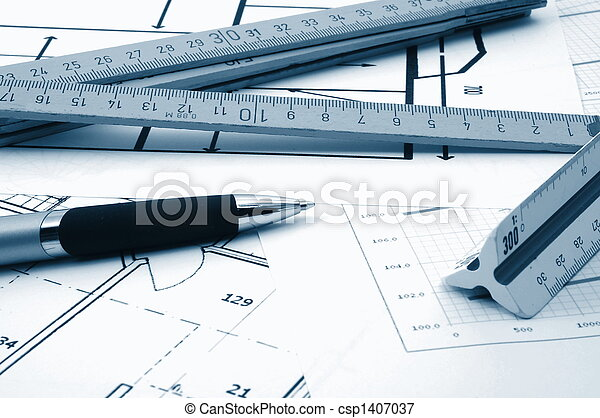 architectur plans of residential real estate - csp1407037