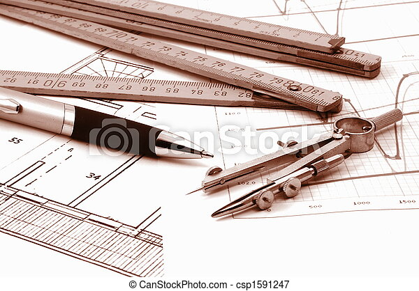 architectur plans of residential real estate - csp1591247