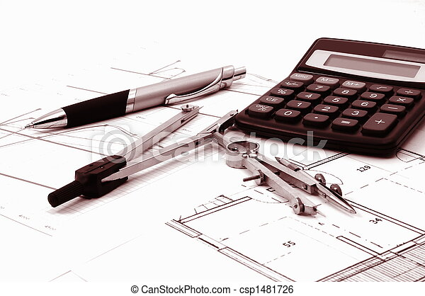 architectur plans of residential real estate - csp1481726