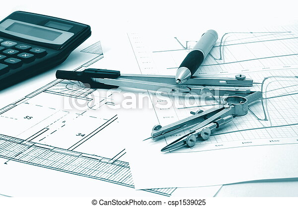 architectur plans of residential real estate - csp1539025