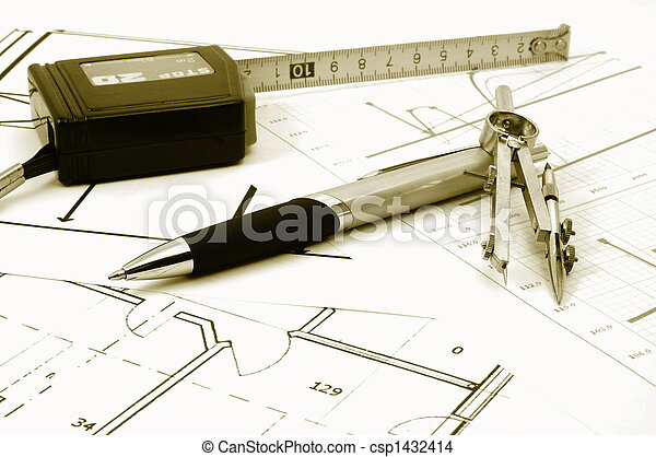 architectur plans of residential real estate - csp1432414