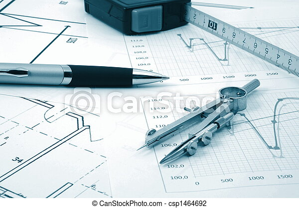 architectur plans of residential real estate - csp1464692