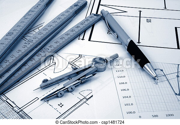 architectur plans of residential real estate - csp1481724