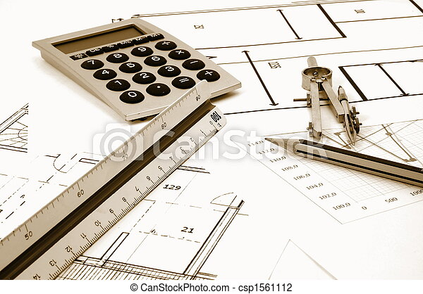 architectur plans of residential real estate - csp1561112