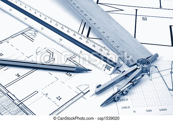 architectur plans of residential real estate - csp1539020