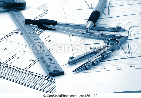 architectur plans of residential real estate - csp1561130
