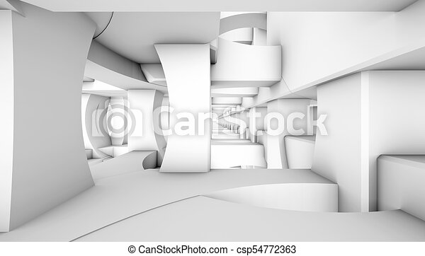 architectural abstract 3d rendering - csp54772363