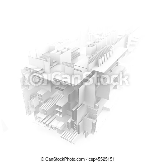architectural abstract 3d rendering - csp45525151