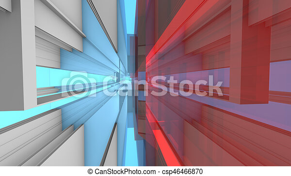 architectural abstract 3d rendering - csp46466870