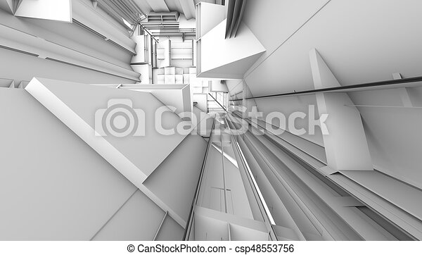 architectural abstract 3d rendering - csp48553756