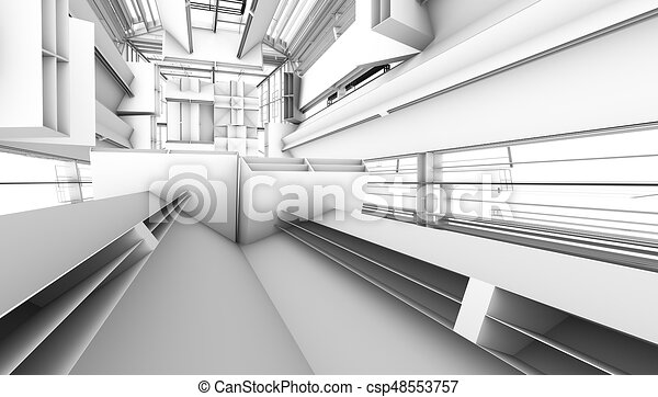 architectural abstract 3d rendering - csp48553757