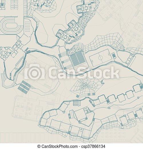 Architectural and engineering blueprint vector topographic vector architectural and engineering blueprint csp37866134 malvernweather Gallery