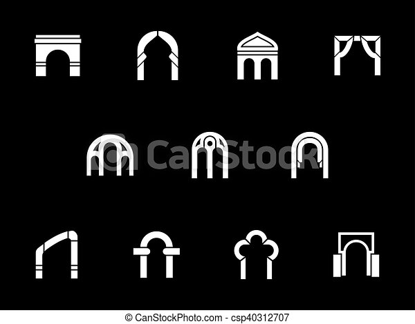 Architectural arches white glyph vector icons