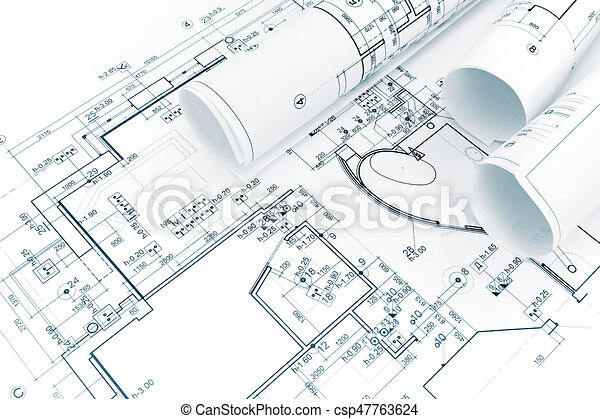 Architectural background with blueprint and rolls of technical architectural background with blueprint and rolls of technical drawings csp47763624 malvernweather Gallery