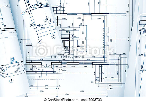 Architectural background with blueprint rolls and technical drawings architectural background with blueprint rolls and technical drawings csp47998733 malvernweather Gallery