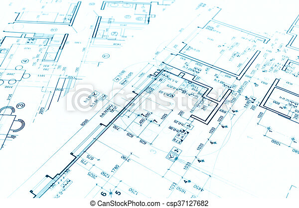Architectural Background With Technical Drawings And Construction