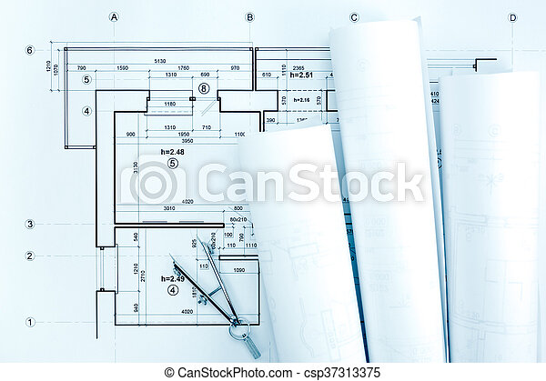 Architectural blueprint rolls with plan and drawing compass architectural blueprint rolls with plan and drawing compass csp37313375 malvernweather Gallery
