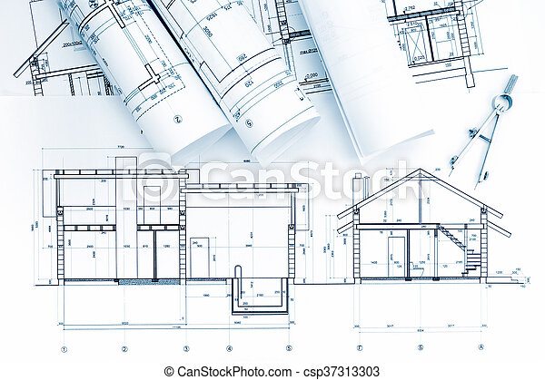architectural blueprint, rolls with drawing compass - csp37313303