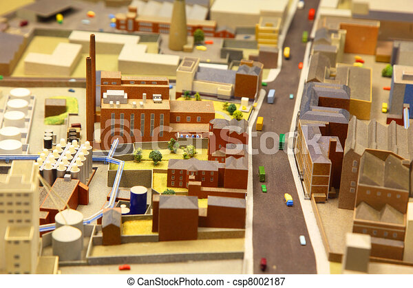 architectural breadboard model of the industrial district with models of cars - csp8002187