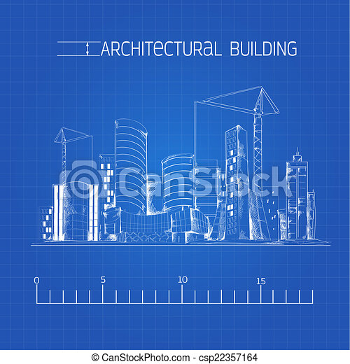 Architectural building blueprint modern residential urban clip architectural building blueprint csp22357164 malvernweather Gallery