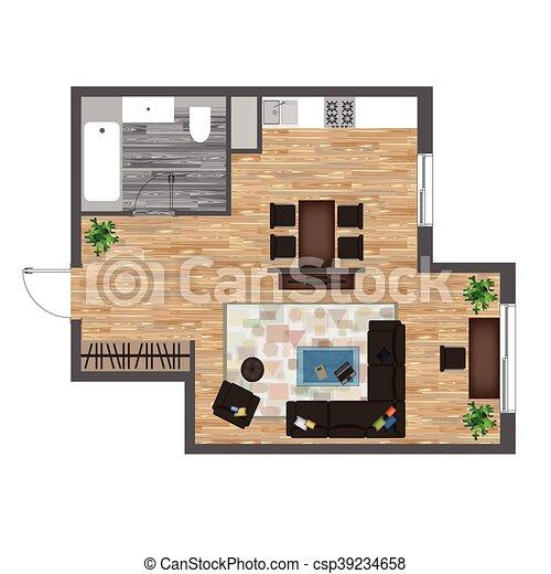 Architectural Color Floor Plan Studio Apartment Vector Illustration Top View Furniture Set Living Room Kitchen Bathroom Canstock