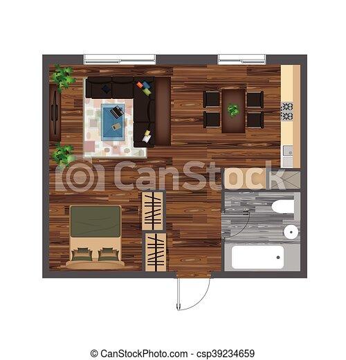 Architectural Color Floor Plan Studio Apartment Vector Illustration Top View Furniture Set Living