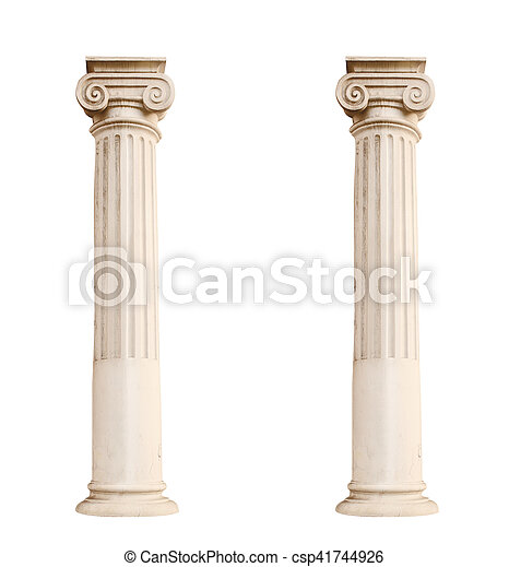 architectural columns isolated on a white background - csp41744926