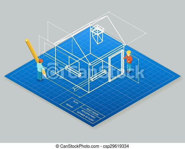 Architectural design blueprint drawing 3d isometric illustration architectural design blueprint drawing 3d isometric illustration malvernweather Images
