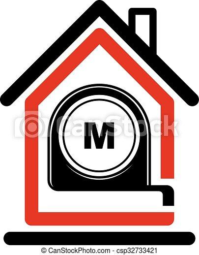Architectural Design Conceptual Vector Symbol, Simple House Icon With Tape  Measure. Design Construction Graphic