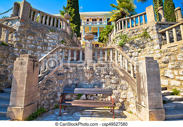 Architectural detail on Lungomare coast famous walkway in Opatija - csp49527580