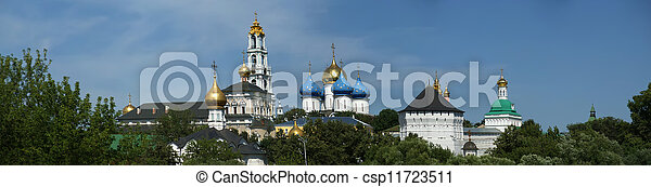 Architectural Ensemble of the Trinity Sergius Lavra in Sergiev Posad. Panorama. Russian Federation - csp11723511