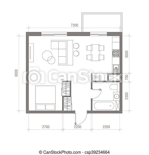Architectural Floor Plan With Dimensions Studio Apartment Vector