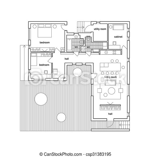 Architectural house plan. Blueprint on white background. vector ...