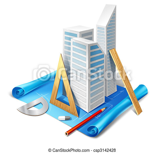 Architectural Model And Tools Stock Illustration