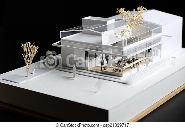 architectural model of a modern building on black